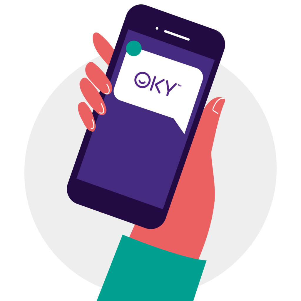 a hand holding a phone with a message from OKY, as a notification that a voucher has successfully been received.
