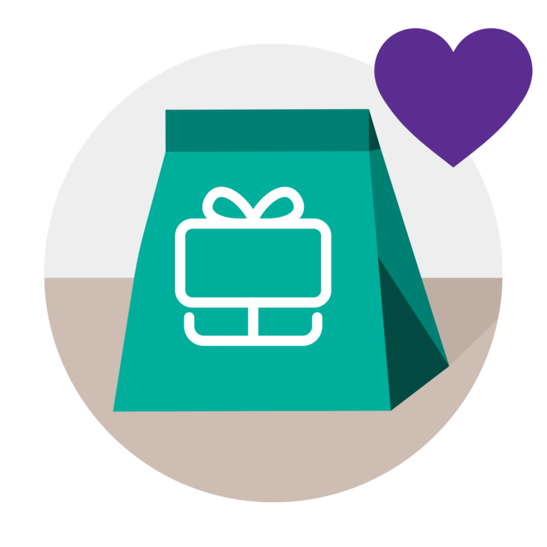 a packaged gift received through OKY with a heart symbol